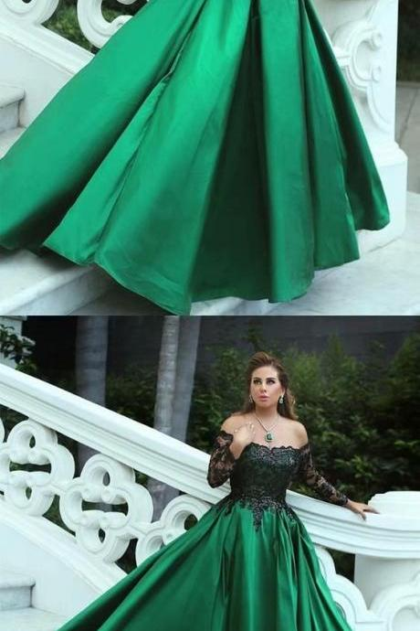 Long Prom Dresses Long Sleeve Ball Gown Evening Formal Dresses