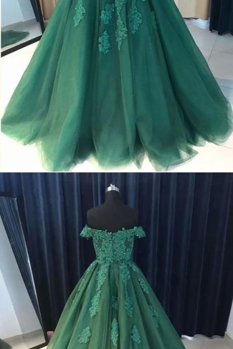 Long Prom Dresses Hunter Green Lace Applique Evening Formal Dresses