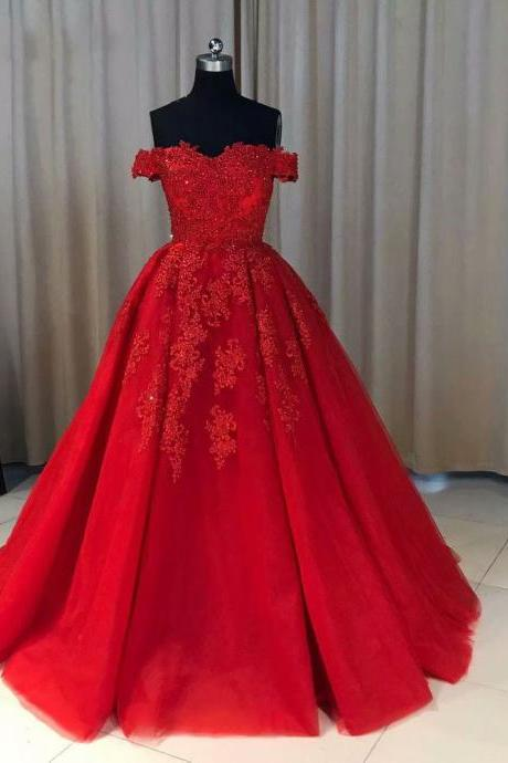 New Long Red Prom Dresses A Line Lace Evening Formal Dresses