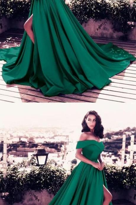 Long Green Prom Dresses A Line Lace Evening Formal Dresses