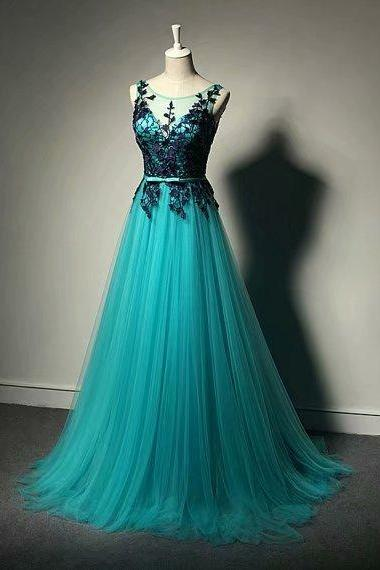 Long Prom Dresses Sheer Neck A Line Lace Evening Formal Dresses