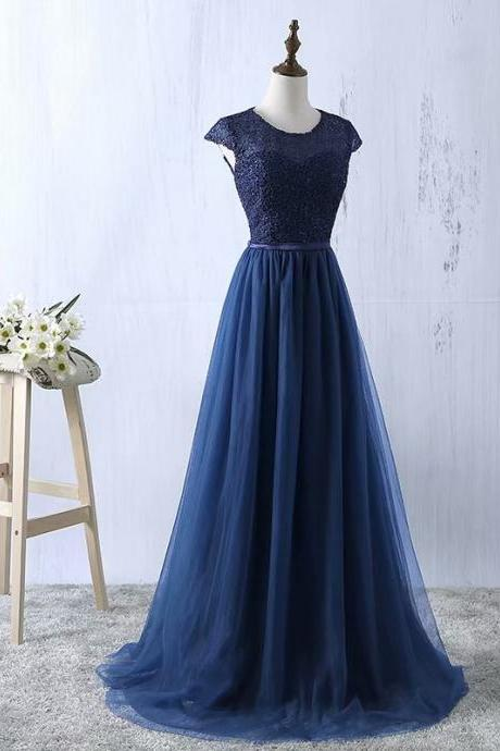 2019 Navy Blue Prom Dresses Tulle Prom Gowns Real Photo O Neck A Line Prom Dresses Long