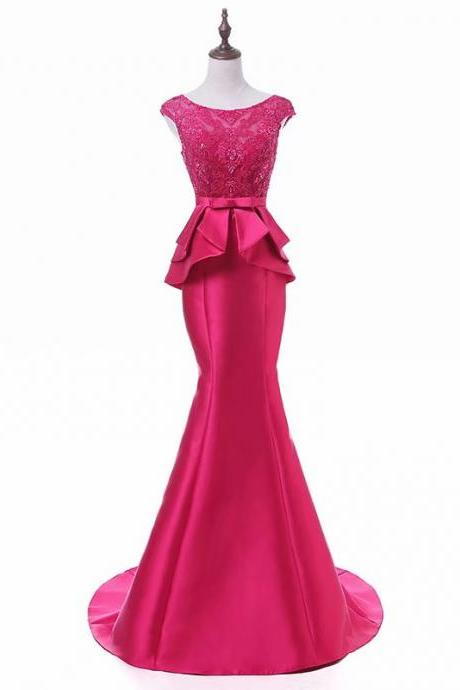 2019 Prom Dresses Fuschia Prom Dress Real Photo Sheer Neck Mermaid Prom Dresses Long Vestido De Festa