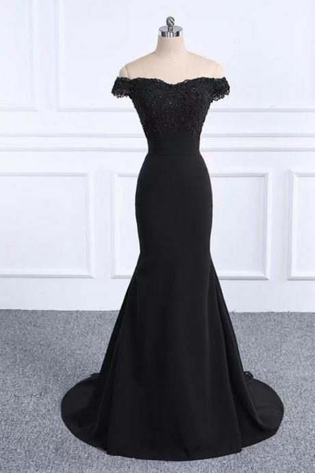 2019 Off Shoulder Prom Dresses Black Prom Dress Real Photo Mermaid Formal Dresses Long Vestido De Festa