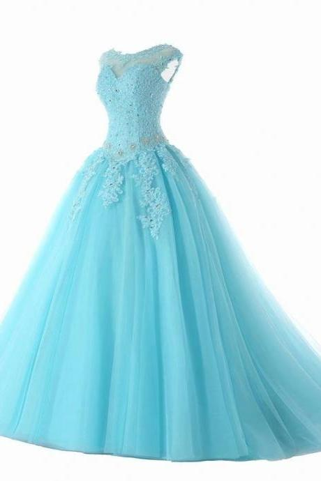 Blue Prom Dresses Quinceanera Dresses Sexy Sweet 16 Dress Tulle Debutante Gowns Dress Formal Patry Gown