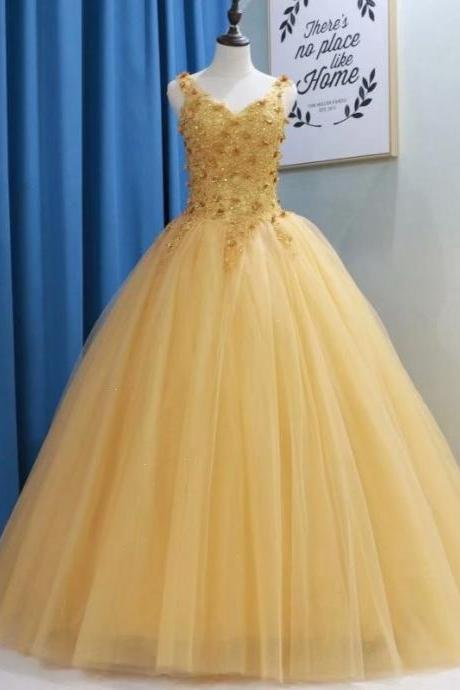 Yellow Ball Gown Quinceanera Dresses Sexy V Neck Sweet 16 Dress Debutante Gowns Dress Formal Gowns