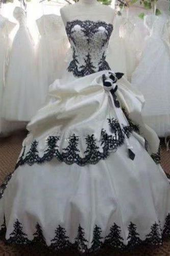 Real Image White And Black Ball Gown Wedding Dresses Vestido De Noiva Appliue Sweetheart Bride Dress Bridal Gown