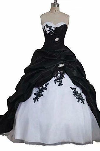 Black Wedding Dresses Appliue Sweetheart Bride Dress Bridal Gown