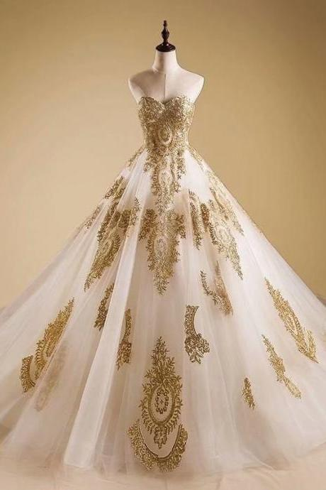 Gold Applique Ball Gown Wedding Dresses Sweetheart Bride Dress Bridal Gown