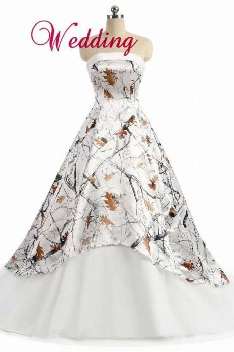 White Camo Ball Gown Wedding Dresses Strapless Bride Dress Bridal Gown