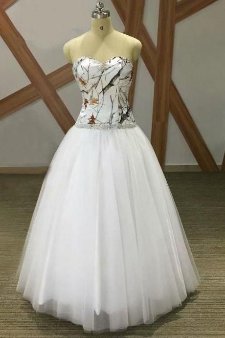2019 White Camo Ball Gown Wedding Dresses Vestido De Noiva Sweetheart Bride Dress Bridal Gown