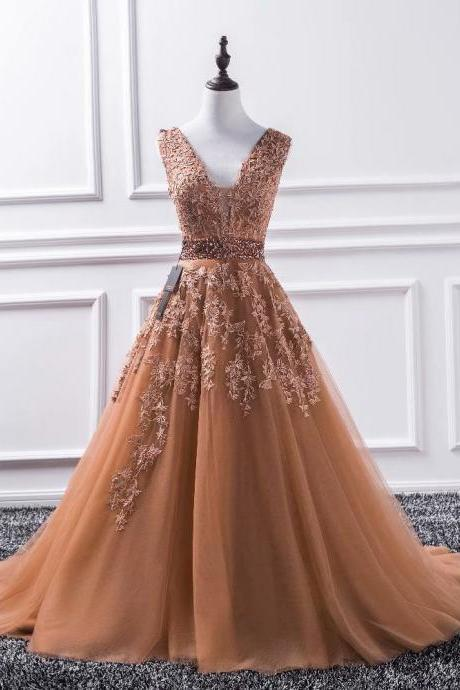 Elegant Long Coffee Prom Dresses 2019 New Tulle Appliques Princess Ball Gown Vintage Evening Dress