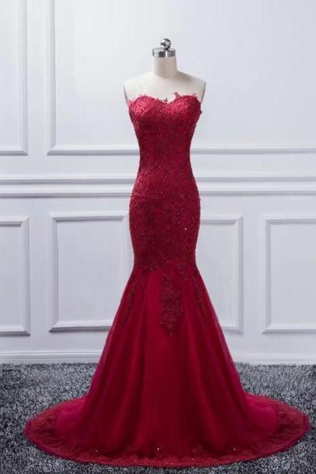 Sexy Burgundy Long Prom Dresses 2019 New Tulle Appliques Vintage Mermaid Evening Dress