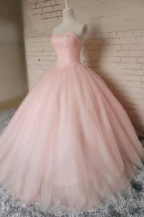 Sexy Pink Beading Sequin Prom Dresses 2019 New Tulle Princess Ball Gown Vintage Evening Dress