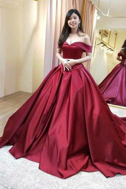 Sexy Burgundy Prom Dresses 2019 New Satin Off The Shoulder Evening Dress
