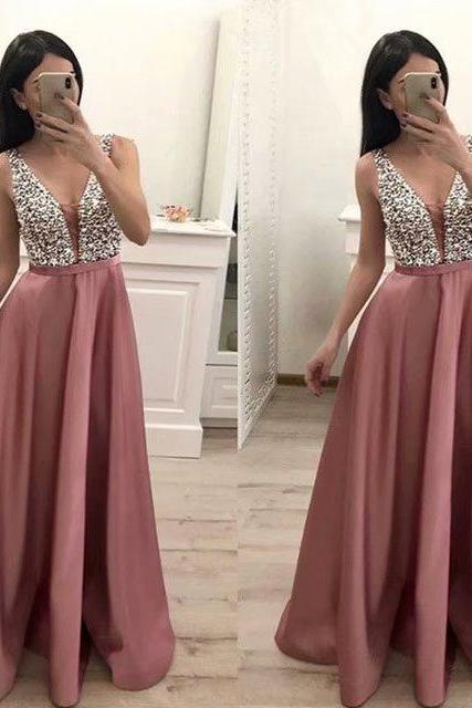 Blush Pink Prom Dresses 2019 New Satin Beaded V Neck Beaded Evening Party Dress