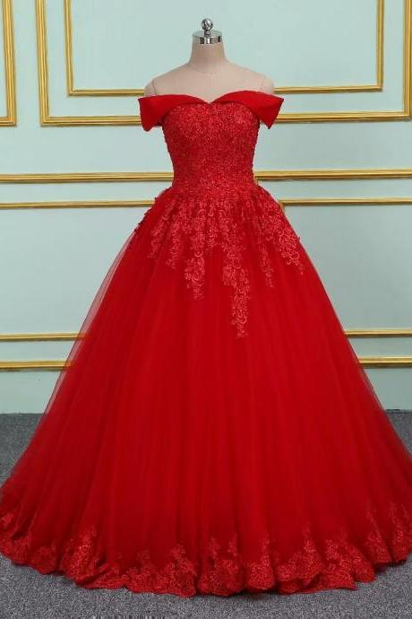 Red Long Prom Dresses 2019 New Tulle Off The Shoulder Princess Ball Gown Vintage Evening Dress