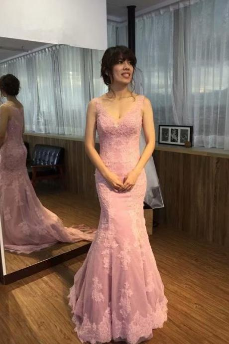 Pink Long Prom Dresses 2019 New Tulle Lace Applique V Neck Lace Applique Party Evening Dress