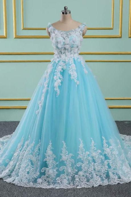 Blue Floral Prom Dresses 2019 New Tulle Lace Appliques Sheer Neck Princess Ball Gown Vintage Evening Dress