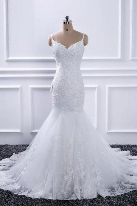 Fashion Mermaid Wedding Dresses V Neck Strapless Bridal Dress Sexy Lace Wedding Gowns