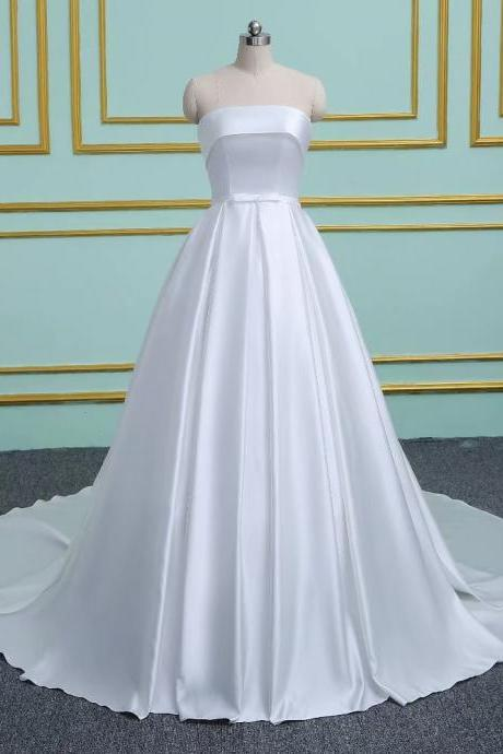 Satin Strapless Wedding Dresses Ball Gown Bridal Dress Charming Wedding Gowns