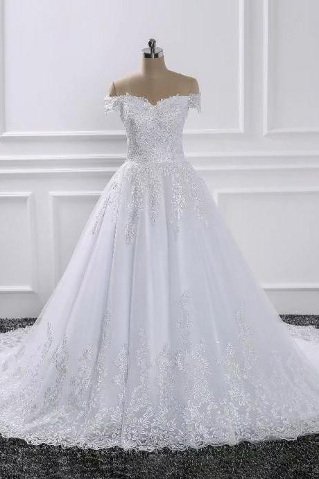 2019 Wedding Dresses Boat Neck Off The Shoulder Bridal Dress Lace Applique Wedding Ball Gowns