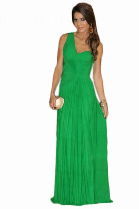 2019 long cheap green one shoulder prom dresses , sexy floor length backless prom dresses,long cheap chiffon evening dresses , formal prom dresses,dresses party evening,formal dresses evening,2015 new arrival formal dresses