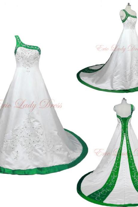 2015 Wedding Dresses,White And Green Embroidery Wedding Dresses, One Shoulder Wedding Dresss,2015 Satin Wedding Dresses,Plus Size Wedding Dresses,Wedding Gowns,Bridal Gowns