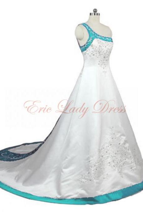 2015 Wedding Dresses,Light Blue Embroidery Wedding Dresses, One Shoulder Wedding Dresss,2015 Satin Wedding Dresses,Plus Size Wedding Dresses,Beaded Sequined Wedding Dress,Wedding Gowns,Bridal Gowns
