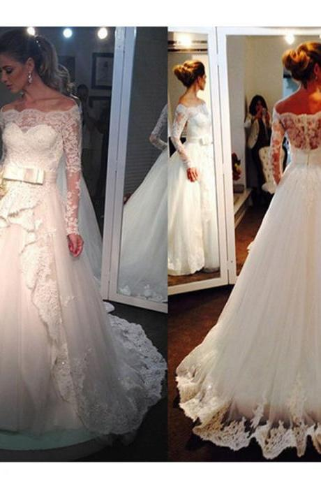 2015 Wedding Dresses,Long Sleeve Wedding Dress, Long A Line Wedding Dresses,Plus Size Wedding Dresses,Wedding Gowns,Bridal Gowns