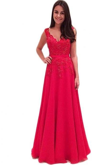 Evening Dress,Red Evening Dress,Long Elegant Evening Dresses,Backless Evening Dresses,Sexy V Neck Prom Dresses, Formal Evening Gowns, Party Dresses