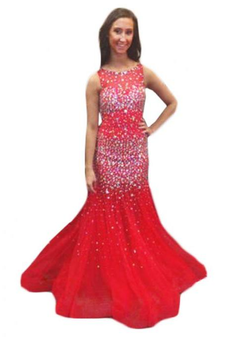 Evening Dress,Long Tulle Evening Dress,Red Evening Dresses,Crystal Evening Dresses,Mermaid Prom Dresses, Formal Evening Gowns, Party Dress