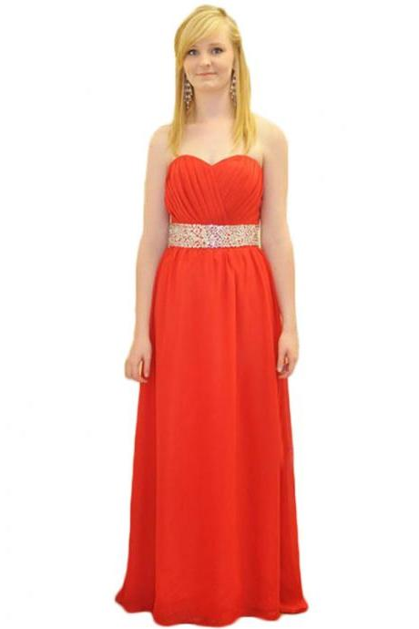 Evening Dress,Long Chiffon Evening Dress,Bridesmaid Dresses,Red Evening Dresses,A Line Prom Dresses, Formal Evening Gowns,Party Dress