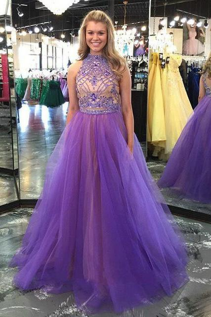 2016 Purple Halter Backless Beaded Evening Dresses Long Sexy Prom Dress Robe De Soiree Formal Gowns