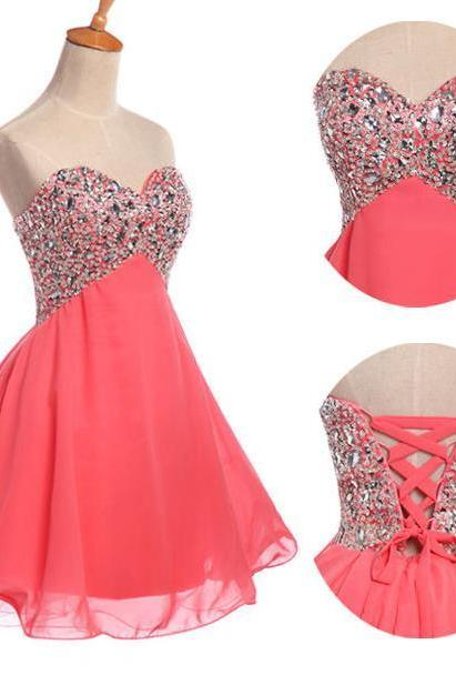 Watermelon Red Graduation Cocktail Dresses Crystal Short Evening Dresses Sweetheart Crystal Chiffon Mini Prom Dresses 2016 Real Photo Women Party Dresses Formal Gowns