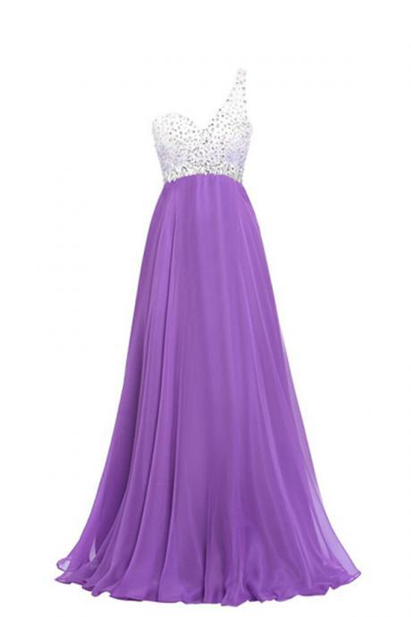 Beaded Embellished One-Shoulder Sweetheart Purple Chiffon Floor Length A-Line Prom Dress Featuring Open Back