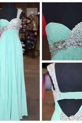 Elegant Chiffon Floor Length One Shoulder Light Blue Cross Back Prom Dress , Party Dresses, Evening Dresses, Long Prom Dress 2016,Graduation Dresses
