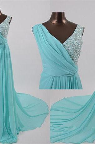 Elegant Chiffon Floor Length V Neck Chapel Train Light Blue Cross Back Prom Dress , Party Dresses, Evening Dresses, Long Prom Dress 2016,Graduation Dresses