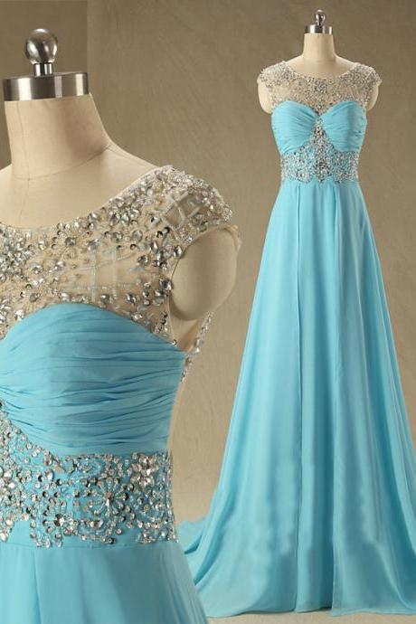 Luxury Chiffon Floor Length Sheer Neck Beaded Light Blue Scoop Backless Prom Dress , Party Dresses, Evening Dresses, Long Prom Dress 2016,Graduation Dresses