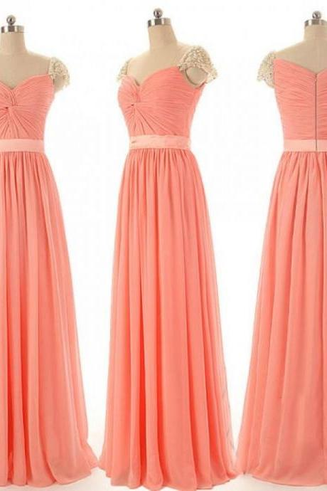 Fashion Chiffon Floor Length V Neck Cap Sleeve Zipper Back Coral Prom Dress , Party Dresses, Evening Dresses, Long Prom Dress 2016,Graduation Dresses