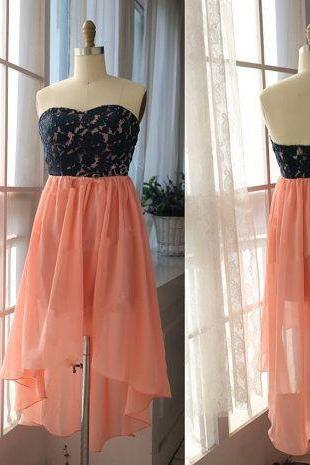 Hot Sale Chiffon High Low Strapless Sweetheart Coral And Black Prom Dress , Party Dresses, Evening Dresses, Long Prom Dress 2016,Graduation Dresses