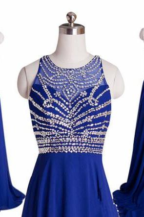2016 Luxury Chiffon Long Sheer Neck Backless Blue Prom Dress , Party Dresses, Sexy Evening Dresses, Long Prom Dress 2016,Graduation Dresses