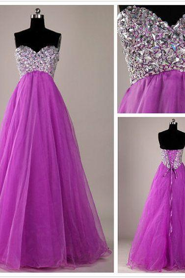 2016 Luxury Organza Long Sweetheart Purple Prom Dress , Party Dresses,Crystal Evening Dresses, Long Prom Dress 2016,Graduation Dresses