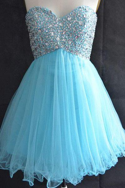 2016 Elegant Short Blue Sweetheart Organza Prom Dress , Graduation Dresses 2016,Party Dresses,Short Evening Dresses, Short Prom Dress 2016,