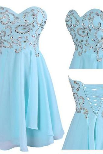 2016 Sexy Short Blue Sweetheart Chiffon Prom Dress , Graduation Dresses 2016,Party Dresses,Short Evening Dresses, Short Prom Dress 2016,