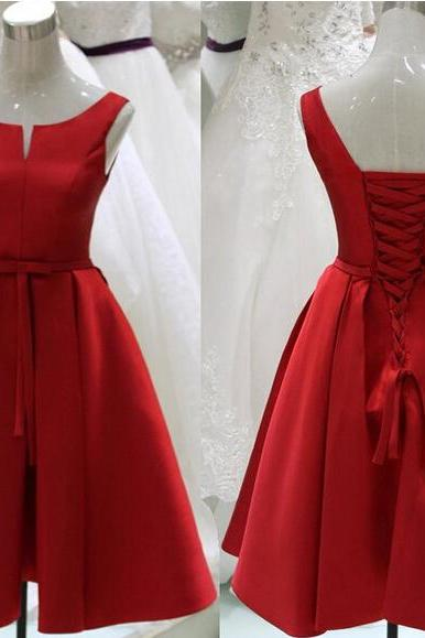 Sexy Knee Length V Neck Red Satin Prom Dress , Graduation Dresses 2016,Party Dresses,Red Evening Dresses, Short Prom Dress 2016,