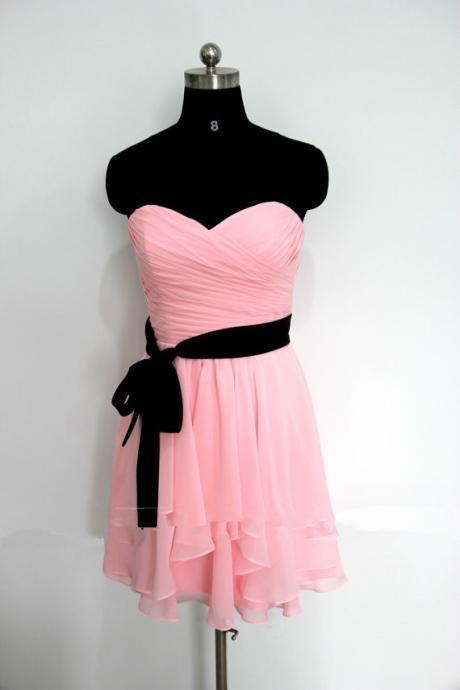 Sexy Short Sweetheart Pink Chiffon Prom Dress , Graduation Dresses 2016,Party Dresses,Pink Evening Dresses, Short Prom Dress 2016,