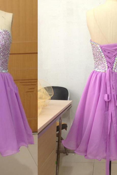 New Arrival Mini Sweetheart Light Purple Chiffon Evening Dress , Graduation Dresses 2016,Party Dresses,Evening Dresses, Short Prom Dress 2016