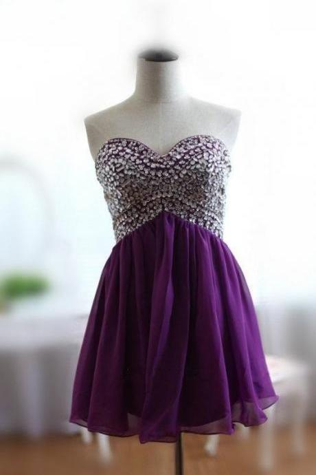 Graduation Dresses 2016,Sweety Mini spaghetti straps purple Chiffon Evening Dress ,Party Dresses,Evening Dresses, Mini Prom Dress 2016