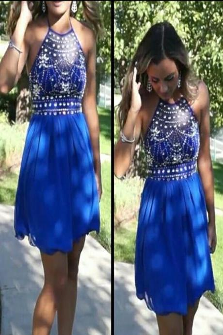 2016 Short Royal Blue Prom Dress A Line Beaded Evening Dresses Party Dresses Robe De Soiree Formal Gowns